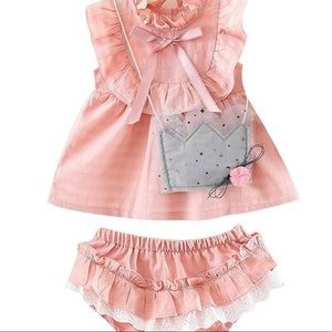 Other - 3pc- Bow Ruffle Dress+Frilled Lace Shorts+Mini Bag